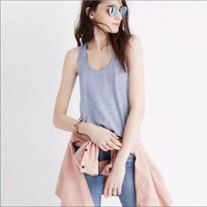 Madewell Whisper Scoop Tank Top Blue White Large